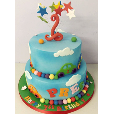 A Two Tiered Childrens Birthday Cake
